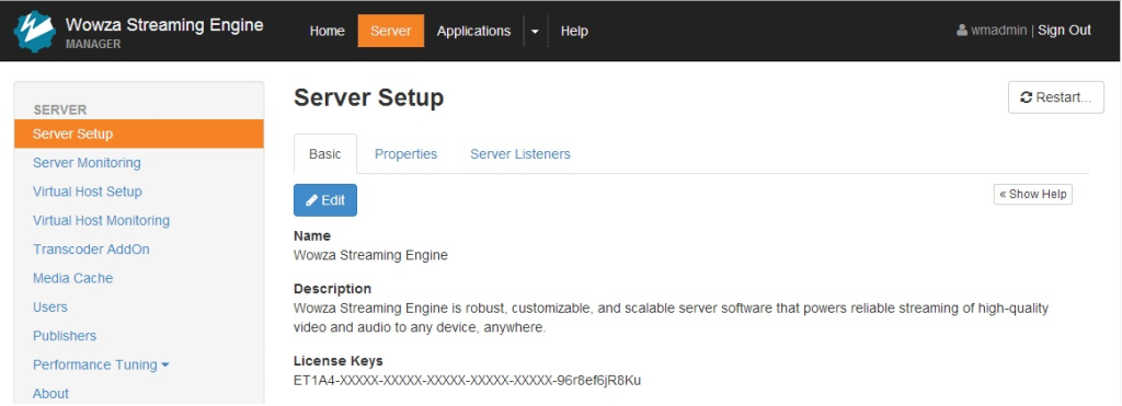 Wowza Streaming Engine server setup